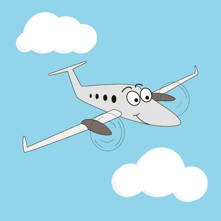 Cartoon style turboprop smiling airplane on a sky background. Happy two engine aircraft with big eyes. Sky, wings, fluffy clouds, windows, eyebrow, flight, trip, peaceful. Vector illustration