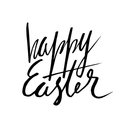 eroded: Happy Easter lettering card. Hand drawn lettering poster for Easter. Ink illustration. Brush pen. effect. Modern cursive calligraphy. Greeting card text template