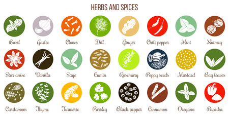 Big icon set of popular culinary herbs and spices white silhouettes