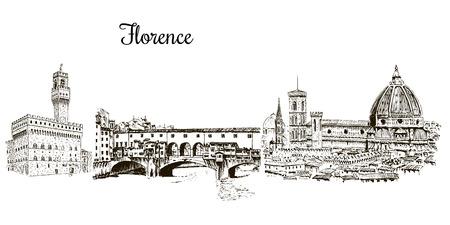 フィレンツェのシンボル silhuettes のセットです。シティライン。ドゥオーモ サンタ・マリア ・ デル ・ フィオーレ大聖堂、ヴェッキオ宮殿。  イラスト・ベクター素材
