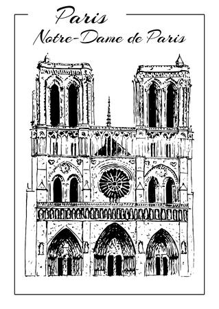 Notre Dame de Paris Cathedral, France. Hand drawing sketch vector Illustration