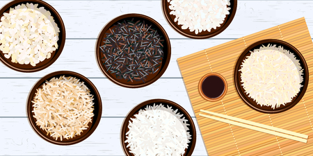 Different types of rice in bowls. Basmati, wild, jasmine, arborio, sushi. chopsticks.