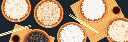 Banner with different types of rice in bowls. Basmati, wild, jasmine, long brown, arborio, sushi. chopsticks