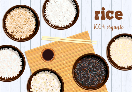 Different types of rice in bowls on white wooden background Basmati, wild, jasmine, long brown, arborio, sushi. chopsticks. Kitchen bamboo mats, sauce tureen.