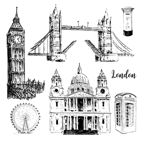 London Architectural Symbols St Paul Cathedral Big Ben And Tower Bridge