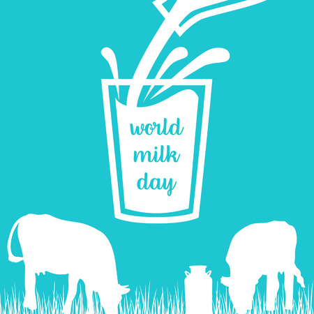 World milk day Cow, Milk pouring from a bottle in glass, silhouettes on Blue background.