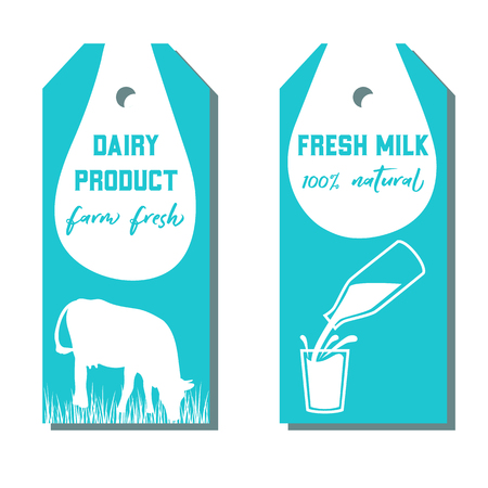 pasteurized: Set of two tags with milk symbol. Cow, Milk pouring from a bottle in glass.