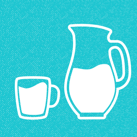 Milk symbol. Cup with milk and jar. Silhouettes on blue textured background.