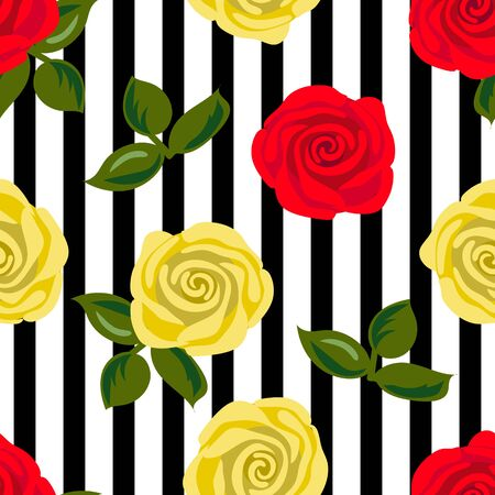 Seamless pattern with red and yellow rose flowers on black stripes. Vector illustration. Illustration