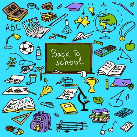 fastener: back to school, hand drawn set sketch in color, doodle, vector,