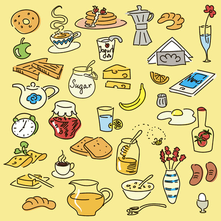 Morning breakfast doodle colored vector set. sketch, objects isolated on white. Bread, butter, snack, food, milk, toast, jam, cereal, coffee croissant donut drink sugar tea For menu tags Иллюстрация