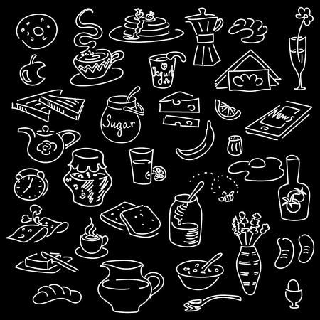 Vecteur de petit déjeuner doodle jeu de matin sur noir. Style de tableau de craie. Pain, beurre, collation, nourriture, lait, pain grillé, confiture, céréales, café, oeuf, beignet boivent du sucre oeuf de thé Pour menu café restaurant