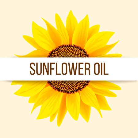 Sunflower with text sunflower oil on stripe. Concept idea for logo, tag, banner, advertising, prints, design element, label, poster, production, sale