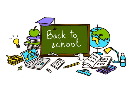 Back to school. school pack. hand drawn color set objects. Eraser, globe, glue, goggles, graduate, lamp, laptop, notes, pen, pencil, pin. Text on chalk board. For decoration prints tags. sketch doodle