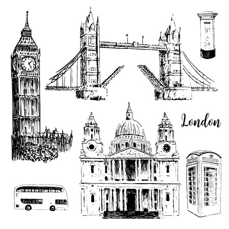 London architectural symbols: Big Ben, Tower Bridge, bus, mail box, call box. St. Paul Cathedral. Beautiful hand drawn vector sketch illustration. For prints, textile, advertising, City panorama