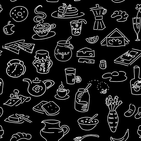 Morning breakfast doodle vector seamless pattern set on black. Chalk board style. Bread, butter, snack, food, milk, toast, jam, cereal, coffee, egg, pancakes, phone, pretzel. For menu cafe restaurant