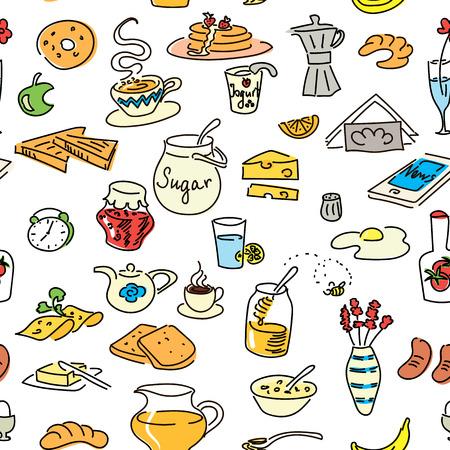 Farbiger nahtloser Mustersatz des Morgenfrühstücks Gekritzel. Skizze, Objekte isoliert auf weiss. Brot, Butter, Imbiss, Lebensmittel, Milch, Toast, Marmelade, Müsli, Kaffee, Croissant, Donut, Getränk, Zuckertee Standard-Bild - 80903458