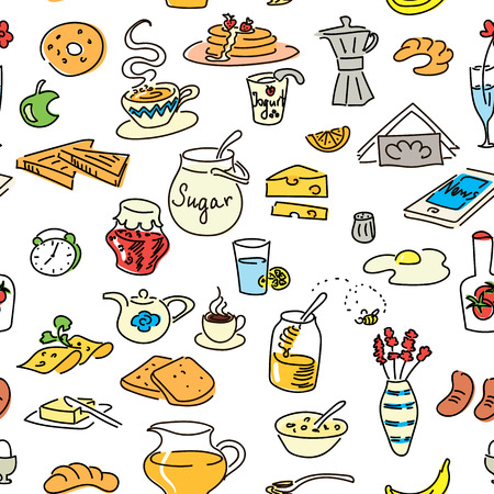 Morning breakfast doodle colored seamless pattern set. sketch, objects isolated on white. Bread, butter, snack, food, milk, toast, jam, cereal, coffee, croissant, donut, drink, sugar tea For menu tag