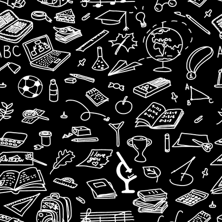 painting: Chalk board style. back to school seamless pattern set. magnifying, medal, microscope, music, notebook, paints, paper, paperclip, pen, pencil, pin, plane. Text For decoration hand drawn. sketch doodle Illustration