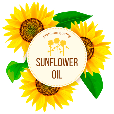 Sunflowers and leaves around circle badge with text premium quality sunflower oil. Concept idea for logo, tag, banner, advertising, prints, design element, label, poster, production, sale