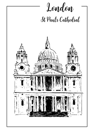 advertising material: St. Pauls Cathedral, London architectural symbol, Beautiful hand drawn vector sketch illustration, For prints, textile, advertising, poster, label, City panorama, tourism, booklet, brochure, postcard