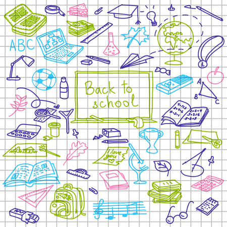 fastener: Back to school, hand drawn colored silhouettes on squared paper, sketch, doodle, vector objects.