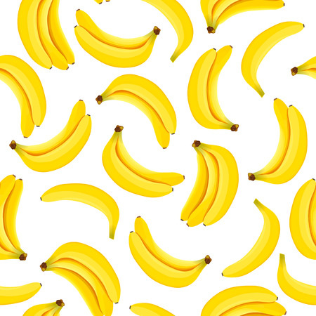 Yellow Banana seamless pattern. Ripe bananas isolated on white background