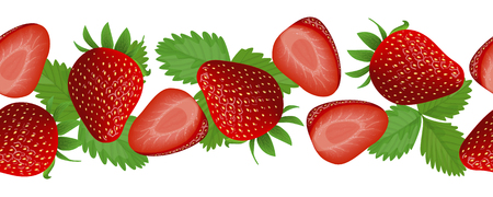 Fresh and juicy Strawberry, Card with leaves. horizontal stripe, Illustration