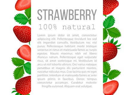 Strawberry with leaves poster with description text