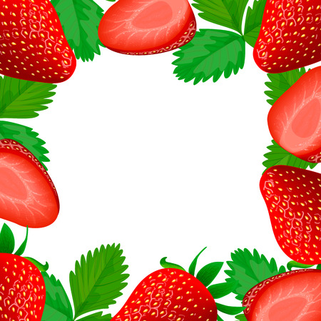 flavor: Vector card framed with colorful strawberries on white background and empty center Illustration