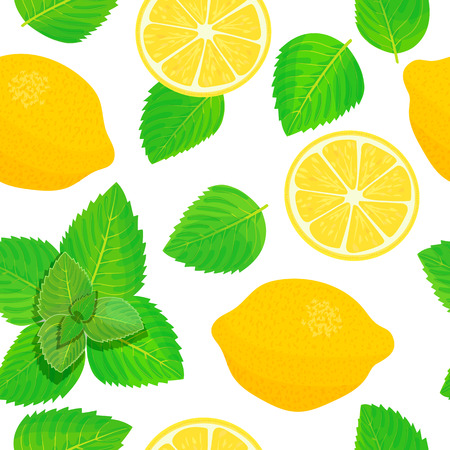 Lemon and Fresh mint leaves theme. Seamless pattern vector Illustration