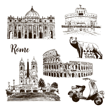 Rome architectural symbols: Coliseum, St. Peter Cathedral, Castel SantAngelo wolf, romulus, Piazza di Spagna, scooter. vector sketch illustration. For prints, textile, advertising, City panorama Illustration