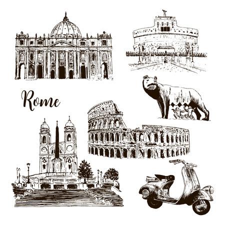 Symboles architecturaux de Rome: Colisée, la cathédrale Saint-Pierre, le loup du château Saint-Ange, romulus, Piazza di Spagna, scooter. illustration de croquis de vecteur. Pour les impressions, le textile, la publicité, le panorama de la ville Banque d'images - 81736052