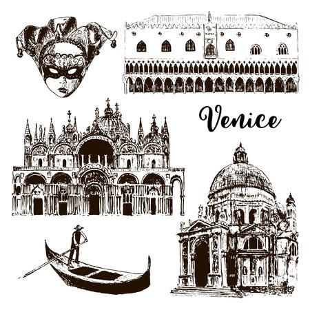Venice architectural symbols set: gondola, Carnival mask, palazzo Ducale, basilica, San Marco, Santa Maria della Salute, vector sketch illustration. For prints, textile, advertising, city panorama