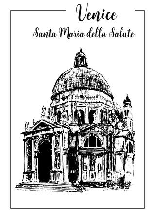 black maria: Santa Maria della Salute. Venice architectural symbol. Church, Beautiful hand drawn vector sketch illustration. Italy. For prints, textile, advertising, poster, label, City panorama, tourism, postcard Illustration