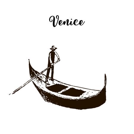 Gondola. Venice symbol. vector sketch. Illustration