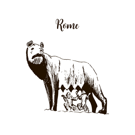 Capitoline Wolf. Rome city symbol. she-wolf t Beautiful hand drawn vector sketch illustration. Italy. isolated on white Ilustração