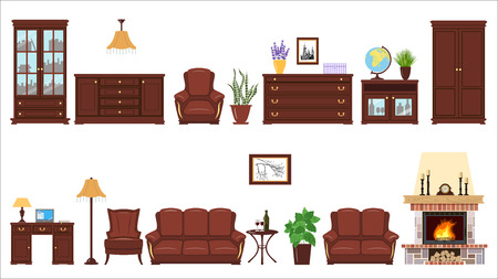 Big realistic Set of home furniture elements for cabinet, library, parlour. Illustration