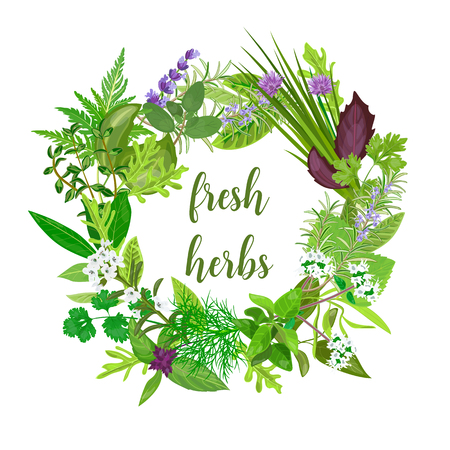 Wreath made of Realistic herbs and flowers with text. Herbs and Spices.