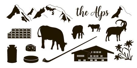 The Alps flat icons. Mountain Matterhorn, Alpine ibex, chalet, edelweiss flowers, alpenhorn