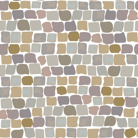 Stone vector texture, cartoon ground seamless pattern for game design, landscape gardening outdoor and indoor interiors. Sandstone pavement, crude stone, pebble pavement, wall of stone, cobbled street Çizim
