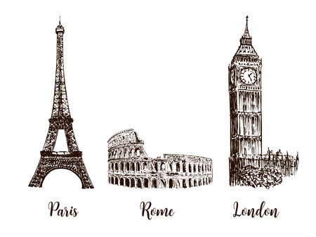 british culture: Paris, London Rome. Set of European capitals symbols. Eiffel tower, Coliseum, Big Ben Illustration