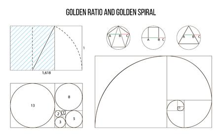 gouden verhouding sjabloon vector, goddelijke proporties, gouden aandeel Vector Illustratie