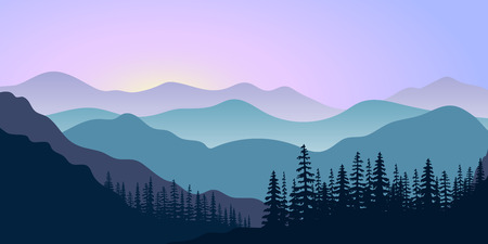 landscape with silhouettes of mountains and forest at sunrise. Illustration