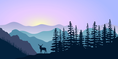 Landscape with silhouettes of deer, mountains deer and forest at sunrise. Vector illustration.
