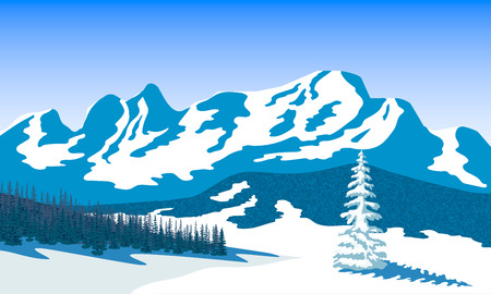 vista: Winter landscape with silhouettes of mountains and forest. Snow and shadows. Vector illustration. Illustration