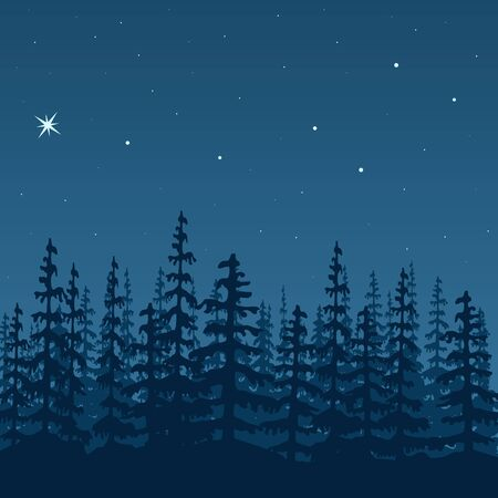 Landscape with silhouette of forest at night. design illustration. Illustration