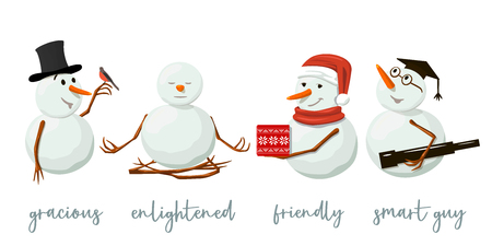 Set of different Snowmen. Precious frosty, gracious with gift, enlightened, friendly, squint, bird, yoga, hat. Smiling, bullfinch bird. Vector illustration. For print, web, greeting card, wallpaper