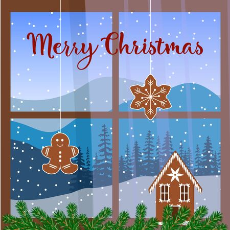 vista: Christmas decorated window, with garland, gingerbread man. View of Winter landscape with silhouettes of mountains and forest