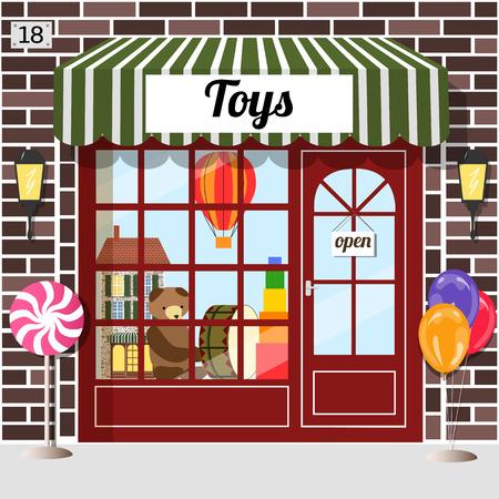 Toys shop facade of brown brick.